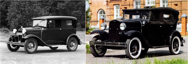01. Ford Model A, 1927 год и ГАЗ-А, 1932 год.