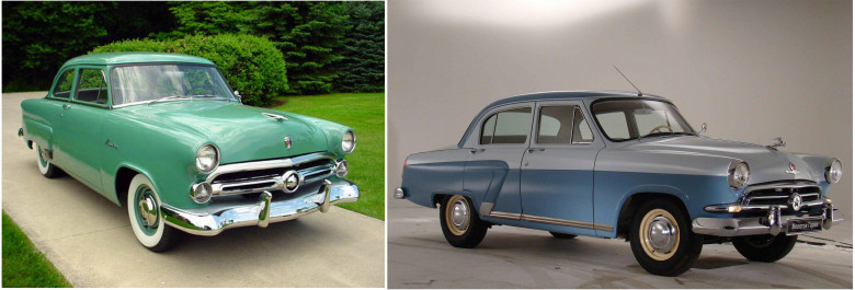 04. Ford Mainline, 1952 год и Волга ГАЗ-21, 1956 год.